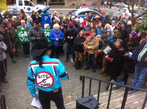 Victoria Site C rally Nov 18 George Desjarlais  speaking by Caitlyn Vernon